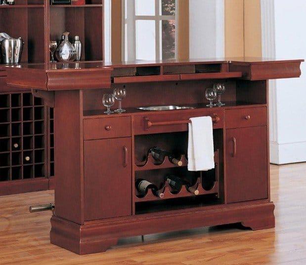 coaster-traditional-cherry-finish-bar-unit-wine-rack-sink-drawers