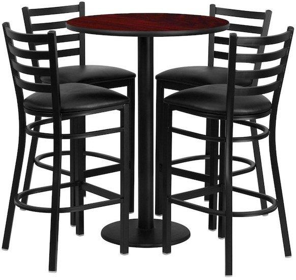 flash-furniture-round-mahogany-pub-table-and-stool-set