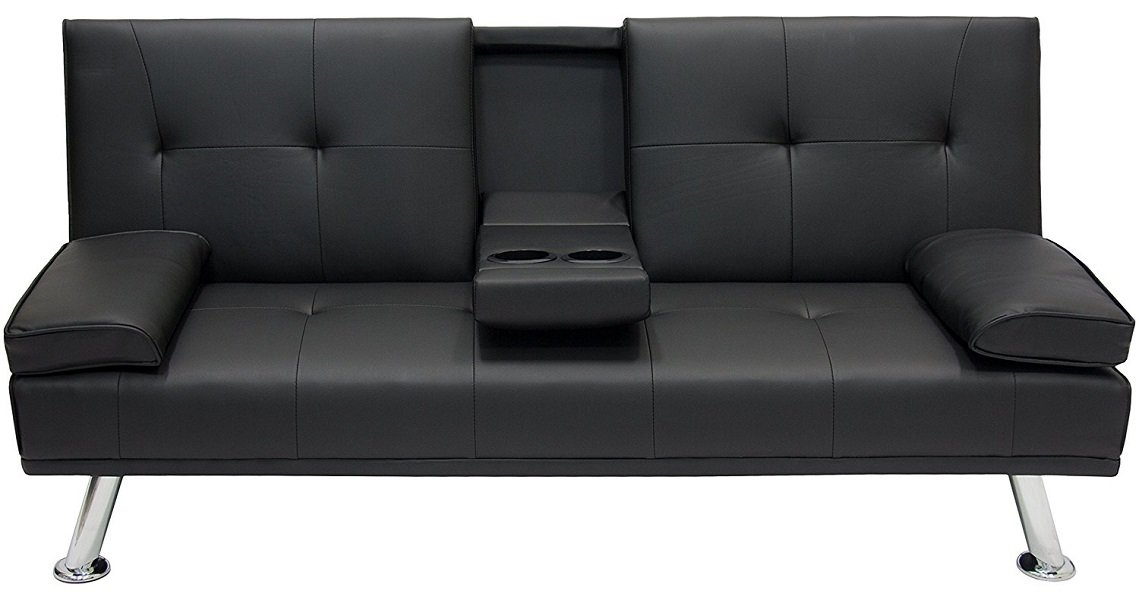 Best Choice Products Modern Entertainment Futon Sofa Bed Fold Up & Down Recliner Couch With Cup Holders Furniture