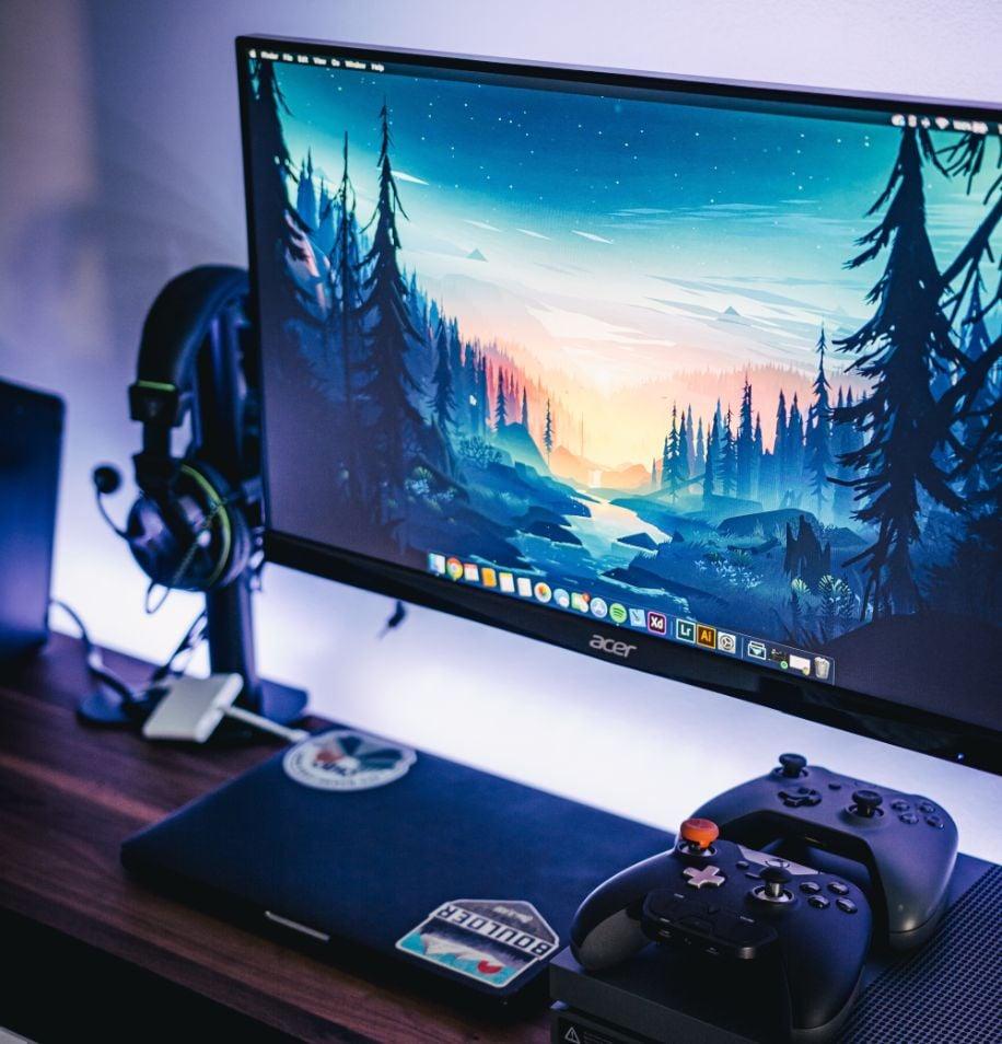 Monitor with Gaming Setup