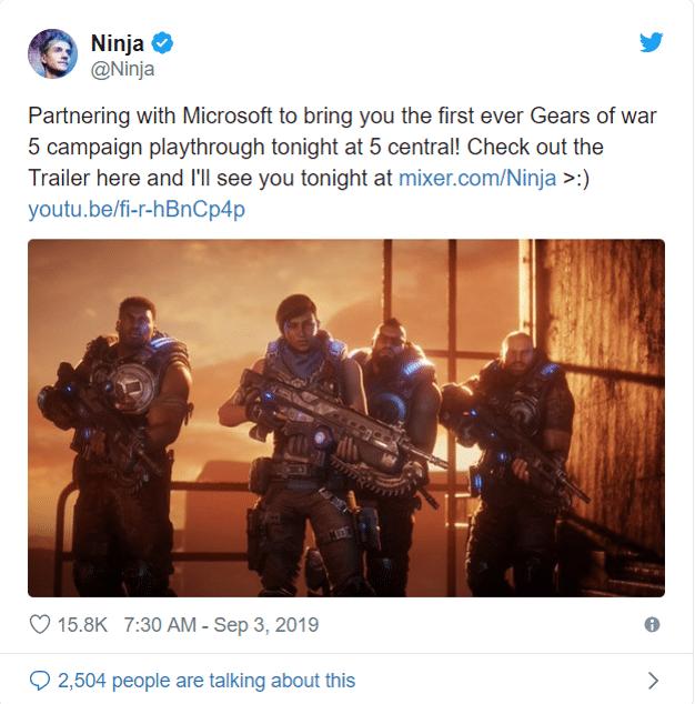 Ninja Announces Gears 5 Stream on Twitter