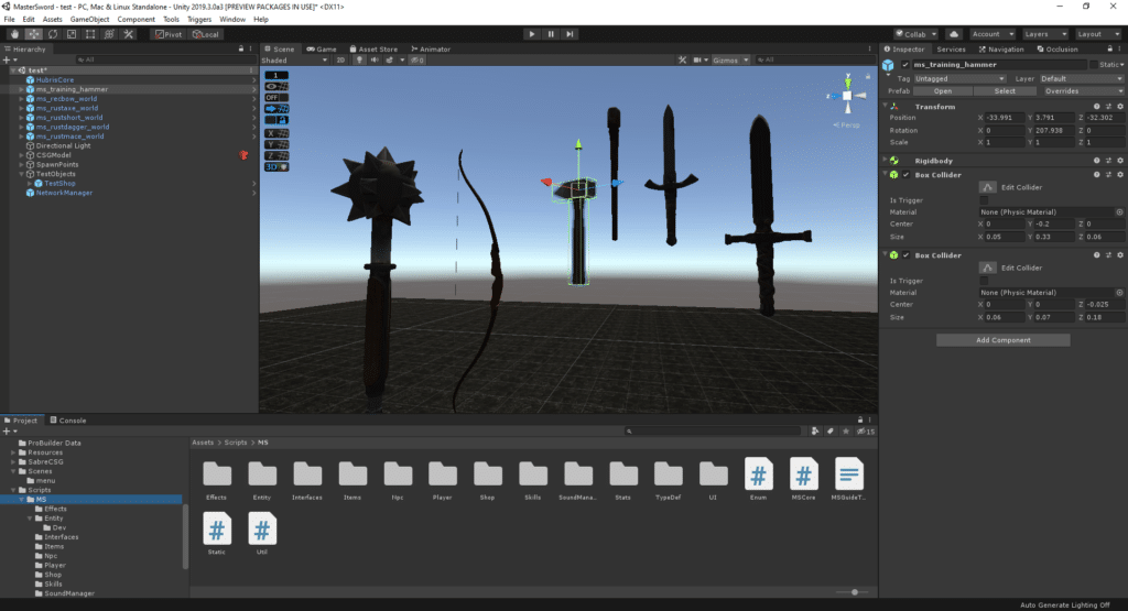 Unity game engine screenshot in-editor, showing medieval weapon models, our pick for best game engine for indie developers