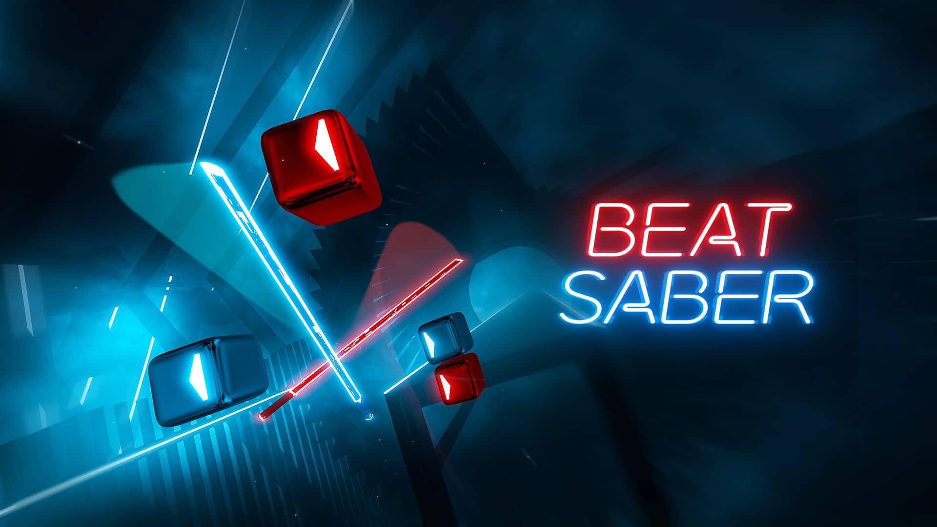 Slashing beat blocks in Beat Saber