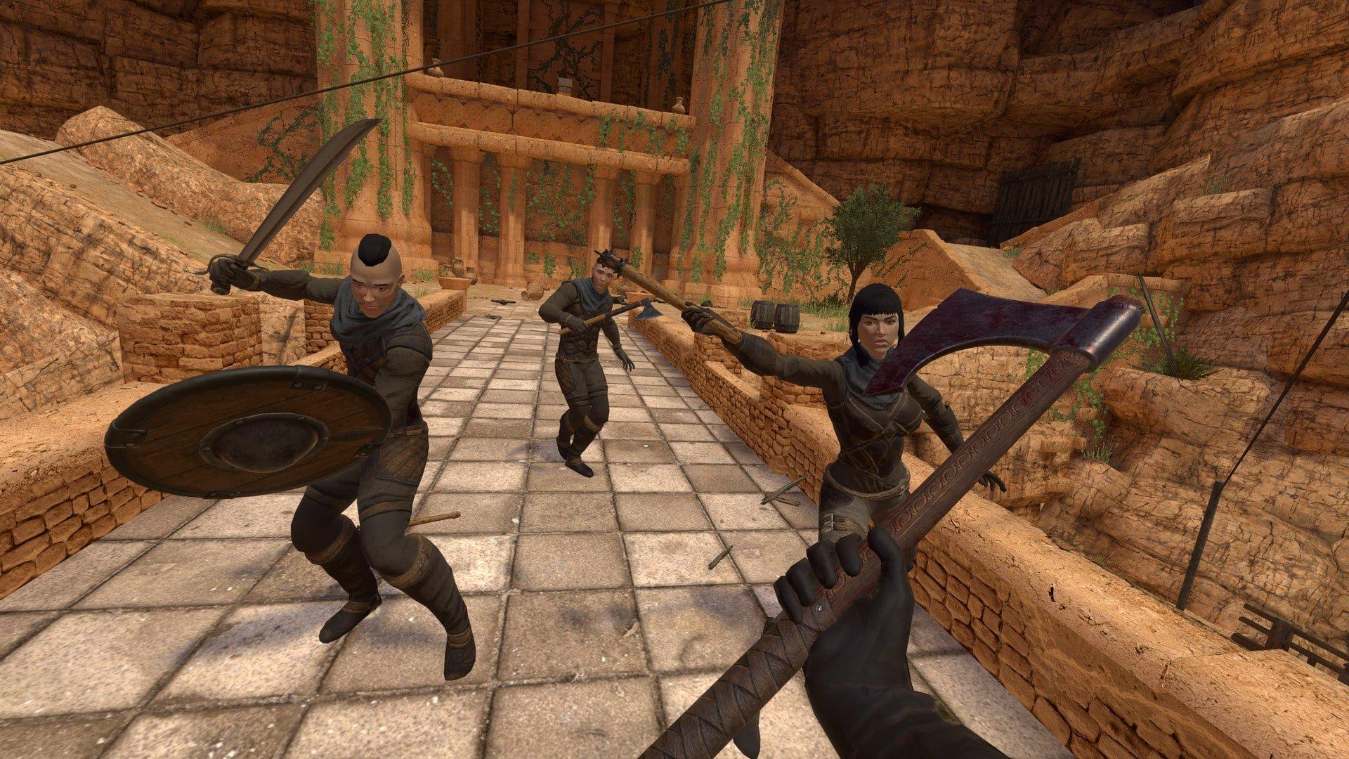 Martial combat on a bridge in Blade & Sorcery
