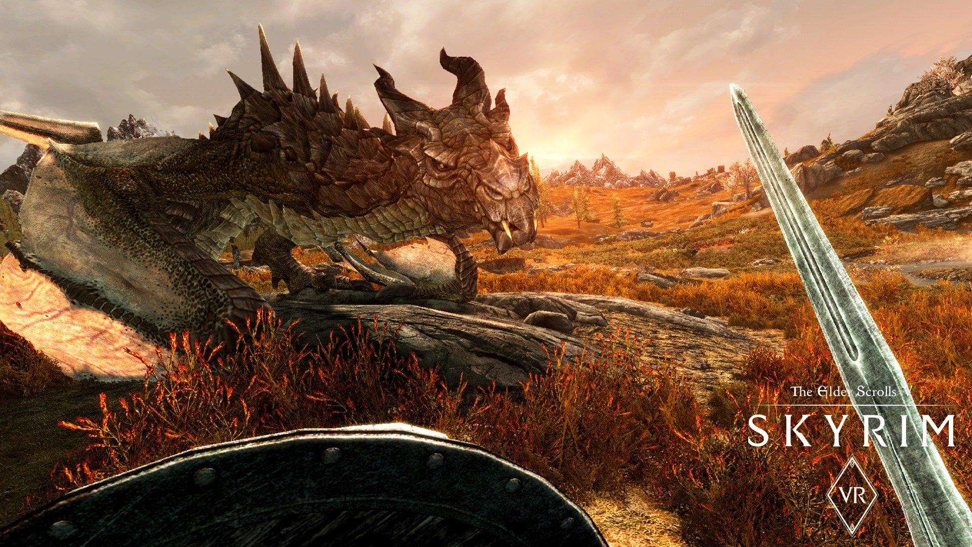 Facing down a dragon in Skyrim VR