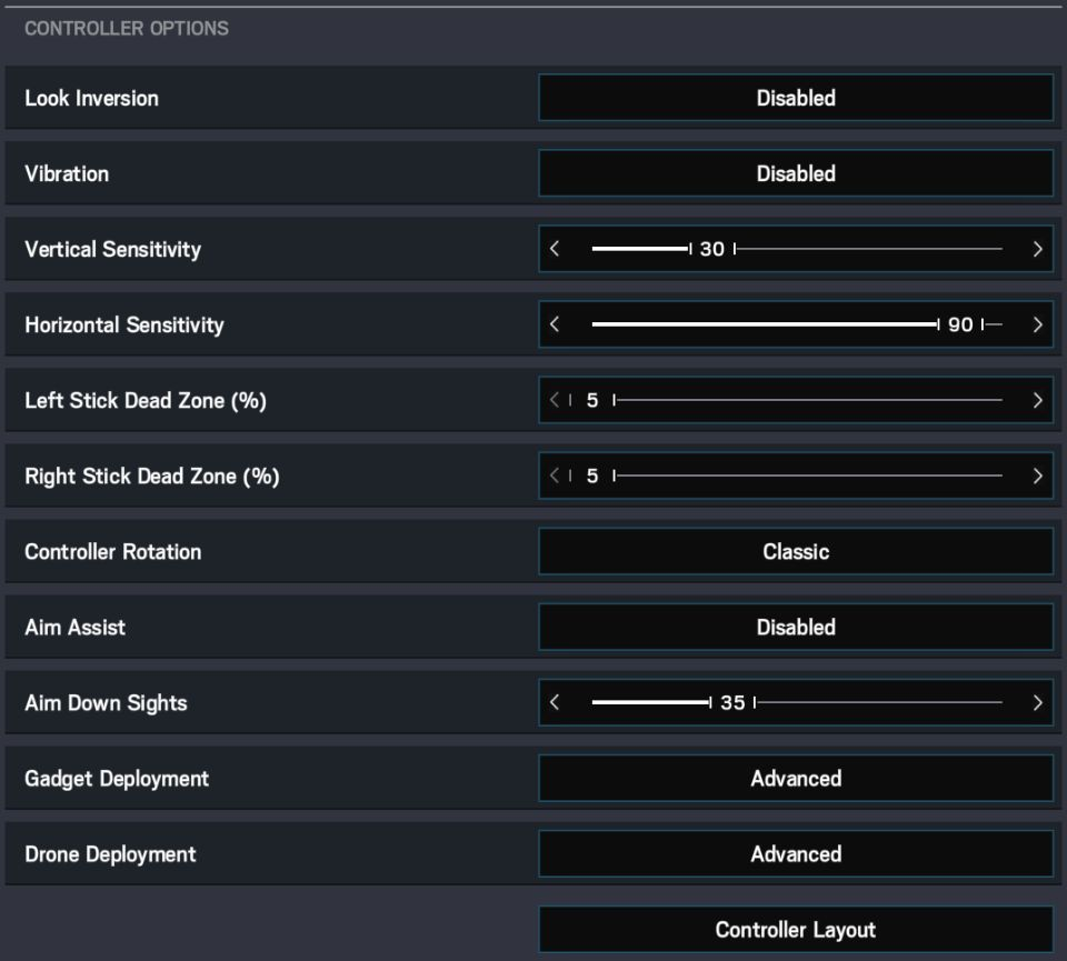 RSS Controller Settings