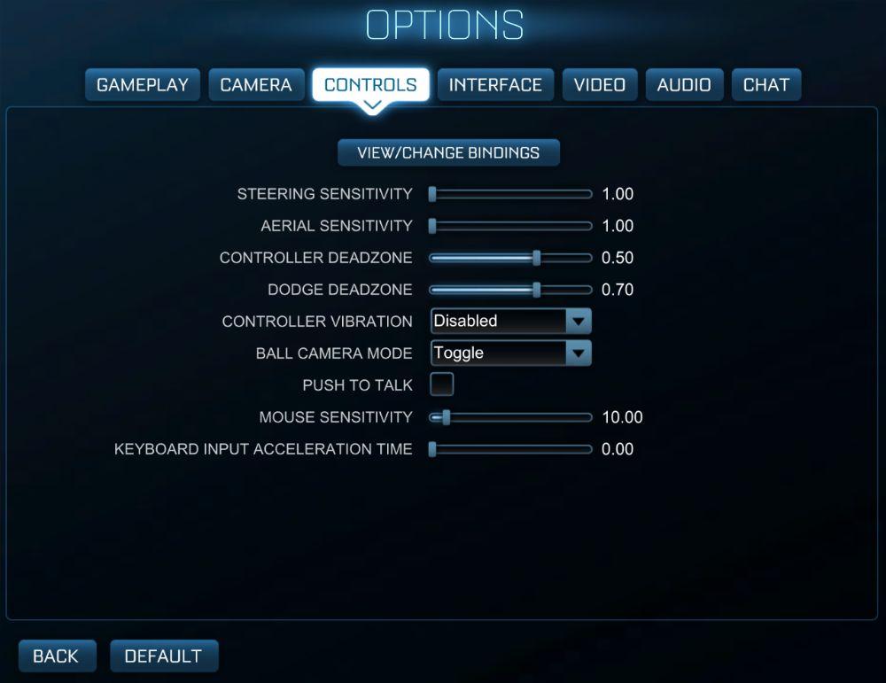 Rocket League Control Settings