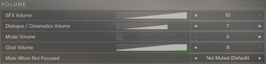 Destiny 2 Audio Settings