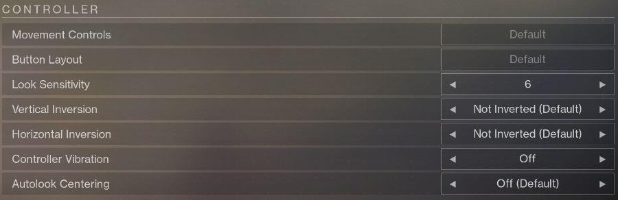 Destiny 2 Controller Settings