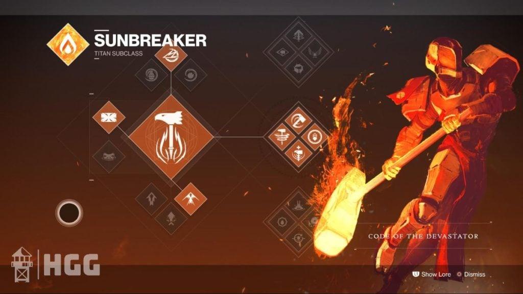 Code of the Devastator — Sunbreaker Subclass