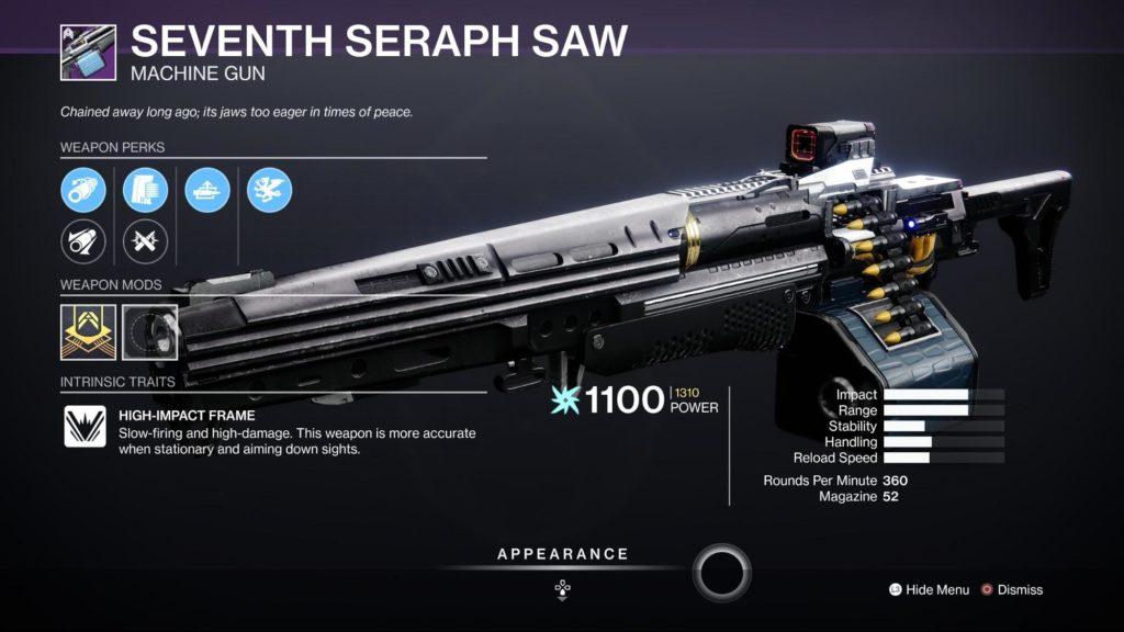 HGG Destiny 2 Seventy Seraph SAW