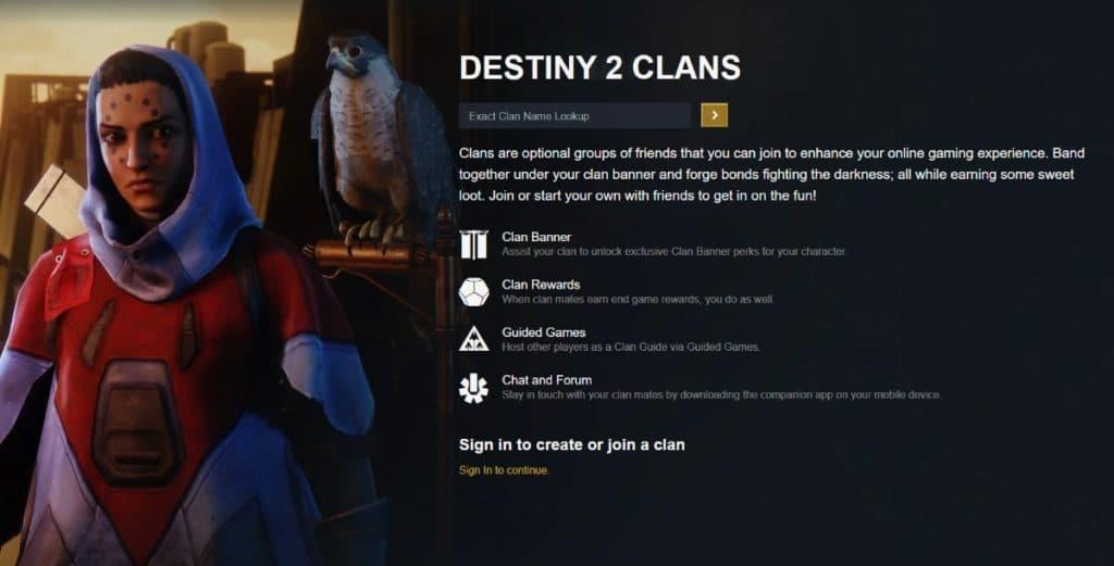 Destiny 2 Clan Page