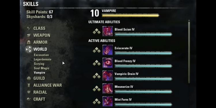 The ESO Vampire Skills