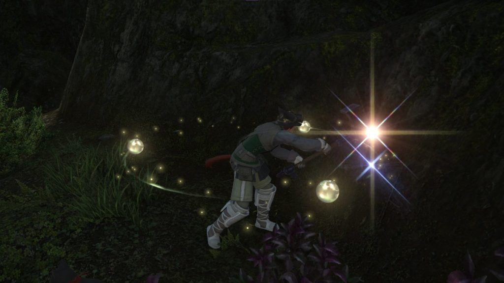 A Mi'qote Miner gathers from a node in a verdant land - The High Ground Gaming FFXIV Beginner's Miner Guide