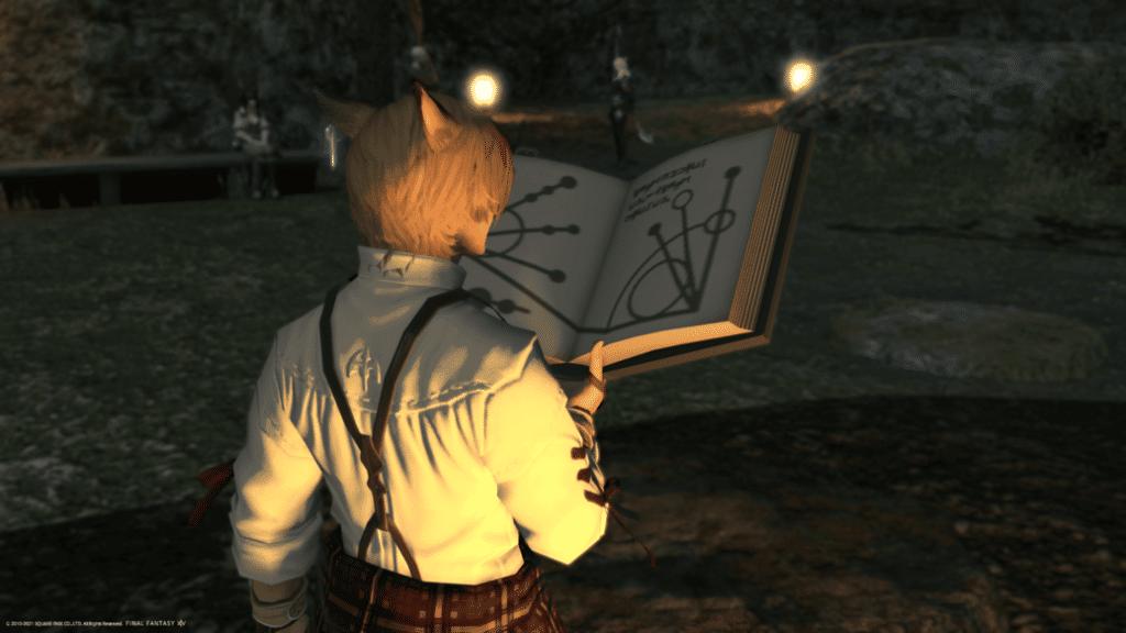 Summoner Job Rotation - character studying spellbook